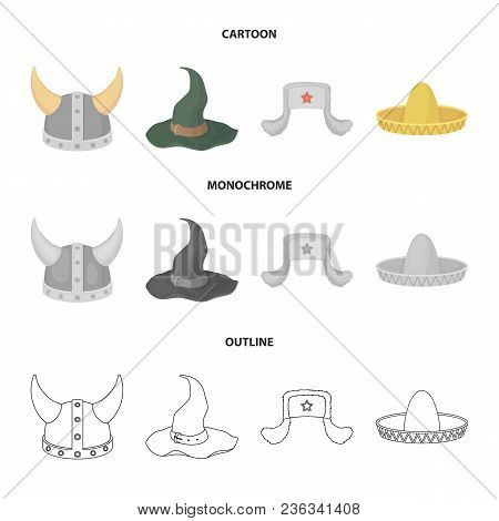 Sombrero, Hat With Ear-flaps, Helmet Of The Viking.hats Set Collection Icons In Cartoon, Outline, Mo