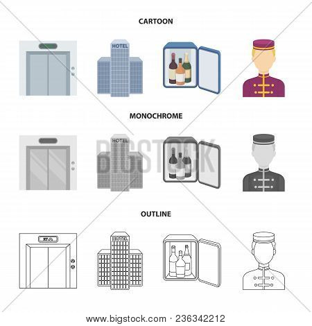 Elevator Car, Mini Bar, Staff, Building.hotel Set Collection Icons In Cartoon, Outline, Monochrome S