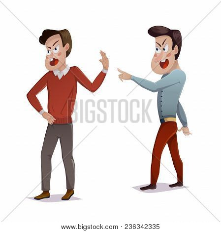 Quarrel. Two Men Arguing And Shouting At Each Other. Male Conflict, Problems In Relationships, Frien