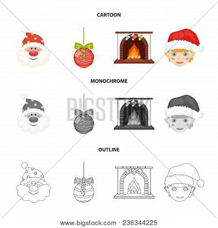 Santa Claus, Dwarf, Fireplace And Decoration Cartoon, Outline, Monochrome Icons In Set Collection Fo