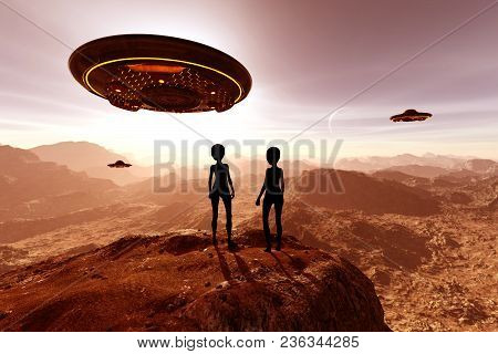 An Alien Planet,3d Illustration Science Fiction Concept Background
