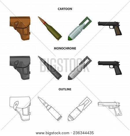 Holster, Cartridge, Air Bomb, Pistol. Military And Army Set Collection Icons In Cartoon, Outline, Mo
