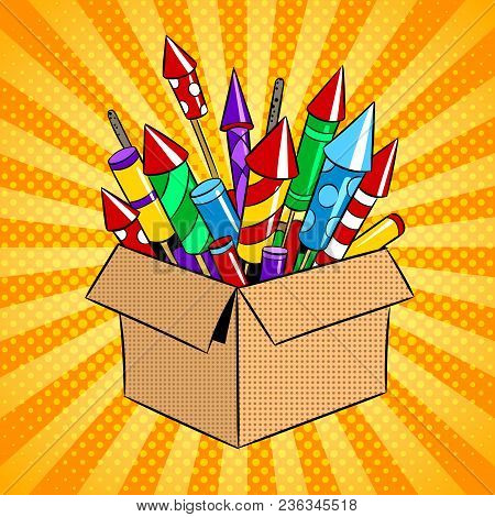 Box With Fireworks Rockets Pop Art Retro Vector Illustration. Color Background. Comic Book Style Imi