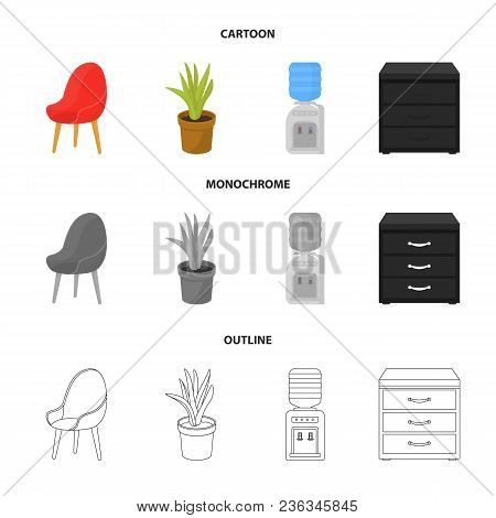 A Red Chair With A Comfortable Back, An Aloe Flower In A Pot, An Apparatus With Clean Water, A Cabin