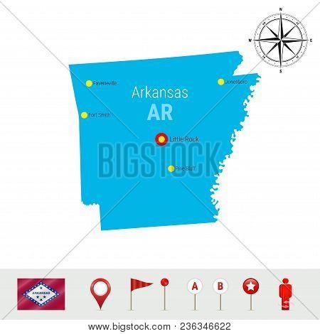 Arkansas Vector Map Isolated On White Background. High Detailed Silhouette Of Arkansas State. Vector