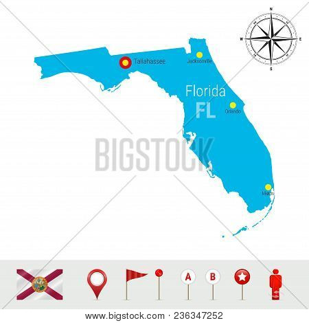 Florida Vector Map Isolated On White Background. High Detailed Silhouette Of Florida State. Vector F