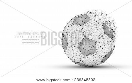 Soccer Ball. Low Poly Wireframe Mesh With Crumbled Edge Isolated On White Background With Dots. Socc