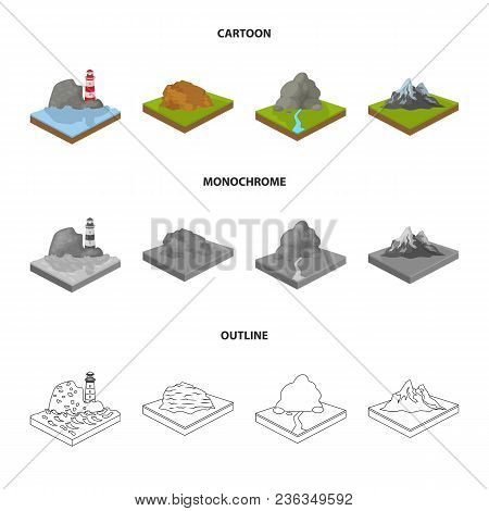 Mountains, Rocks And Landscape. Relief And Mountains Set Collection Icons In Cartoon, Outline, Monoc