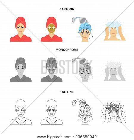 Hands, Hygiene, Cosmetology And Other  Icon In Cartoon, Outline, Monochrome Style.bath, Clothes, Mea
