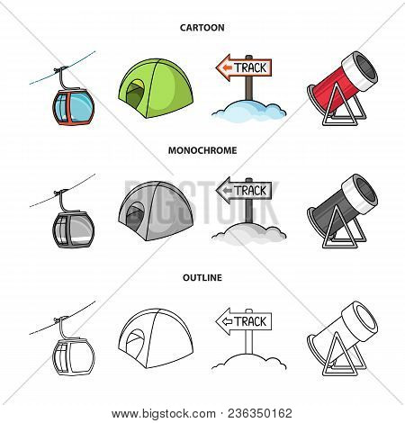 Funicular, Tent, Road Sign, Snow Cannon. Ski Resort Set Collection Icons In Cartoon, Outline, Monoch
