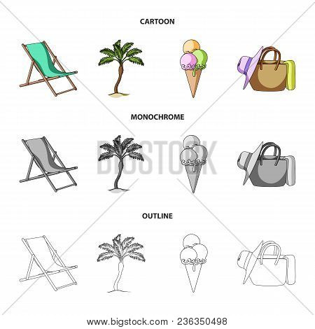Beach, Palm Tree, Ice Cream.summer Vacation Set Collection Icons In Cartoon, Outline, Monochrome Sty
