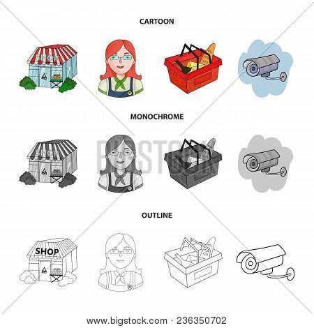 Salesman, Woman, Basket, Plastic .supermarket Set Collection Icons In Cartoon, Outline, Monochrome S