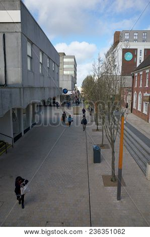 Bracknell, England - April 16, 2018:  A View Of Old And Modern Buildings Along The High Street With