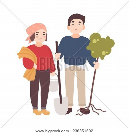 Pair Of Cute Happy Smiling Man And Woman Farmers Or Gardeners Carrying Seedling To Plant And Gardeni