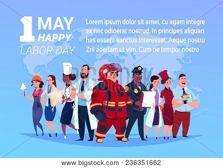 Group Of People Of Different Occupations Standing Over World Map Background Happy 1 May Labor Day Po