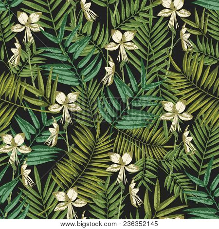 Elegant Hawaiian Seamless Pattern With Exotic Palm Tree Leaves And Flowers On Black Background. Natu