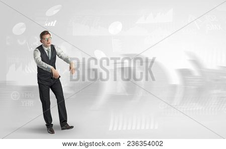 Young elegant businessman with city and report dream concept