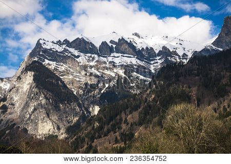 Closeup Of Mountains With Rocks And Forest In Spring. Closeup Of Mountains With Rocks And Forest In