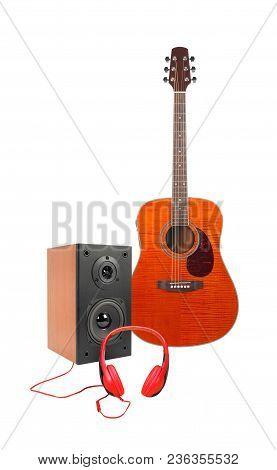 Music And Sound - Front View Orange Flame Maple Acoustic Guitar, Line Array Loudspeaker Enclosure Ca