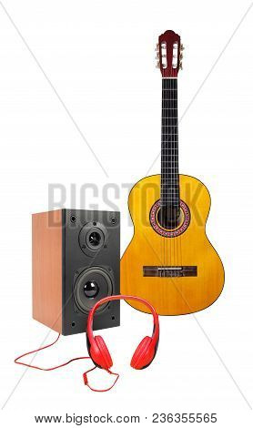 Music And Sound - Front View Yellow Classic Acoustic Guitar, Line Array Loudspeaker Enclosure Cabine