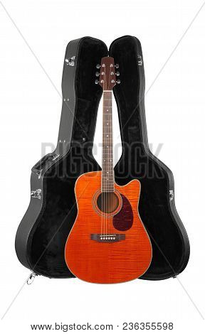 Musical Instrument - Front View Orange Acoustic Guitar In Hard Case  Isolated On A White Background.