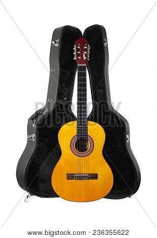 Musical Instrument - Front View Classic Acoustic Guitar In Hard Case  Isolated On A White Background
