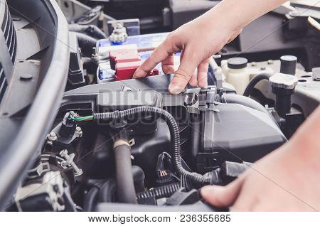 Check The Condition Of The Car Engine, Repair Or Maintenance Concept. Professional Car Mechanic Fixi