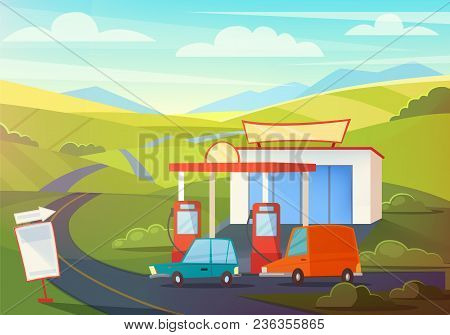 Summer Rural Landscape Scene With Gas Station, Hills And Sky. Oil, Petrol Fueling With Cartoon Cars.