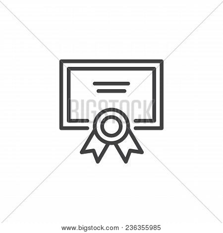 Qualification Certificate Outline Icon. Linear Style Sign For Mobile Concept And Web Design. Diploma