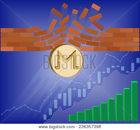 Monero Coin Breaks Through The Wall Resistance With Growth Chart On A Blue Background , The Price Of
