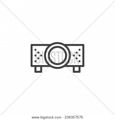 Digital Projector Outline Icon. Linear Style Sign For Mobile Concept And Web Design. Projector For P