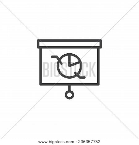 Presentation Screen With Pie Chart Outline Icon. Linear Style Sign For Mobile Concept And Web Design