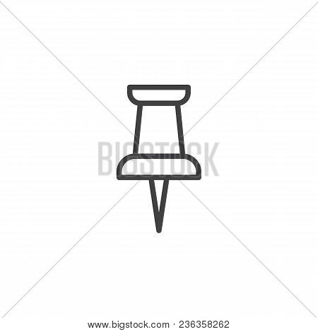 Paper Push Pin Outline Icon. Linear Style Sign For Mobile Concept And Web Design. Thumbtack Simple L
