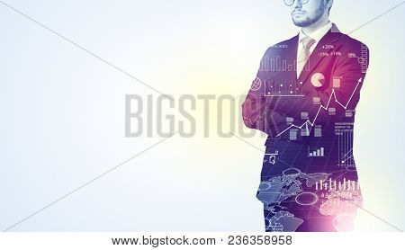 Leader man standing and thinking with graphs, charts, diagrams on the background