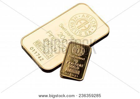 Kyiv, Ukraine - November 02, 2017: Two Small Minted Bars Produced By The Swiss Factory Argor-heraeus