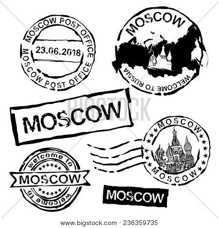 Moscow Postal Or Visa Stamps. Rubber Seal Stamp With Aged Texture. Vector Illustration In Black Colo