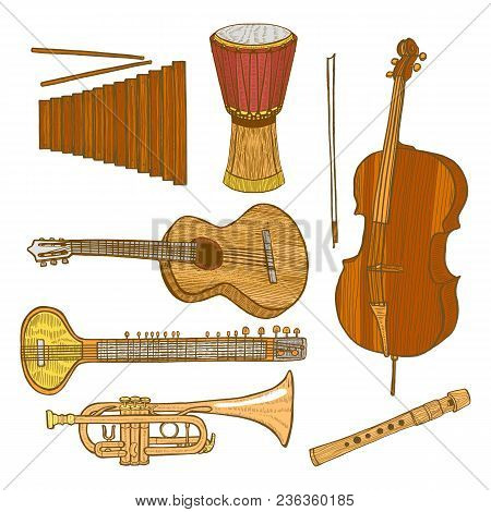 Set Of Musical Instruments. Collection In Hand Drawn Style For Surface Design Fliers Prints Cards Ba