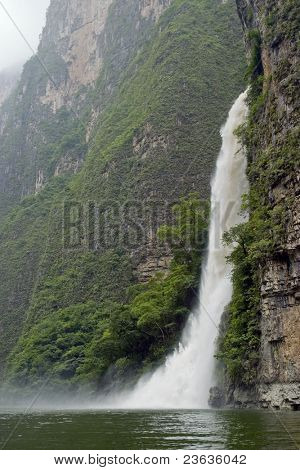 Waterfall out of a Rock Sumidero Canyon, Chiapas Mexico