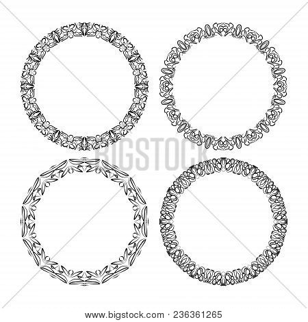 Calligraphic Circle Lace Patterns, Filigree Round Frame In Monochrome Design. Embroidery Template. D