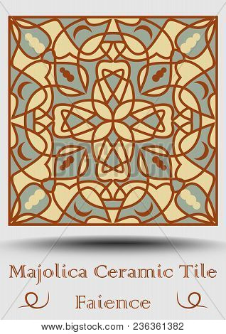 Faience Pottery Tile In Beige, Olive Green And Red Terracotta. Multicolored Ceramic Majolica. Vintag
