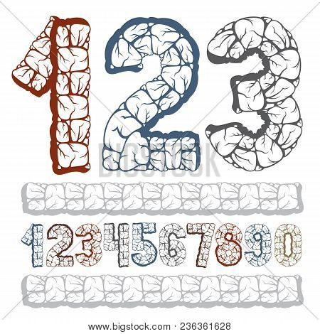 Set Of Stylish Vector Digits, Modern Numerals Collection. Bold Numbers From 0 To 9 Can Be Used For L