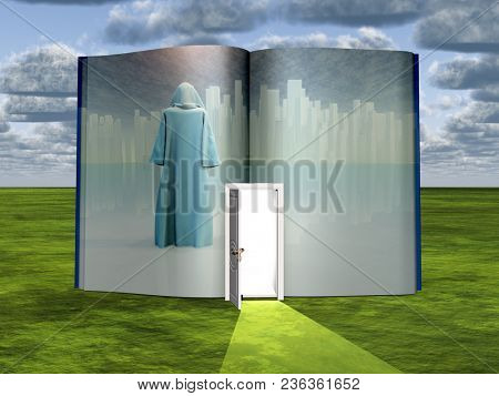Book with science fiction scene and open doorway of light. 3D rendering