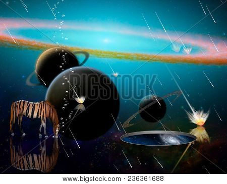 Surreal 3D rendering. Exosolar planets and meteor shower. Striped horse and wormhole to another dimension