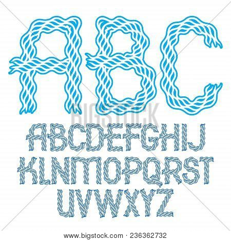 Set Of Vector Bold Capital Alphabet Letters Isolated Created With Abstract Curvy Lines.