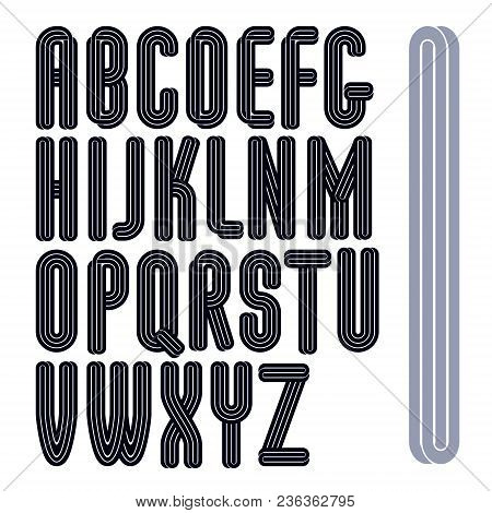 Set Of Vector Capital Tall Funky Alphabet Letters Isolated With Parallel Lines, Can Be Used For Logo