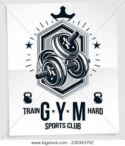 Heavy Load Power Lifting Championship Vector Advertising Poster Created With Disc Weight Dumbbell, K