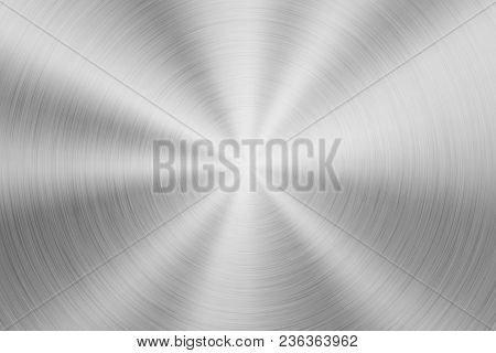 Metal Abstract Technology Background With Circular Polished, Brushed Concentric Texture, Chrome, Sil