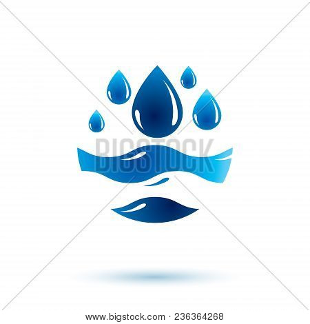 Sea Wave Splash Vector Symbol. Pure Water As Most Important Resource For Human Activity Theme.
