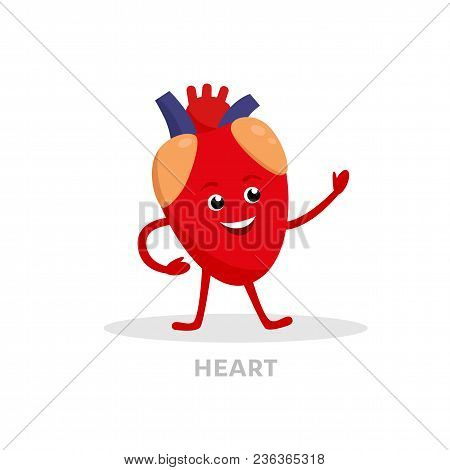 Strong Healthy Heart Cartoon Character Isolated On White Background. Happy Heart Icon Vector Flat De