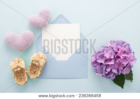 Blue Mother's Day Card Inside Envelope & Booties, Lilac Hearts, Flower